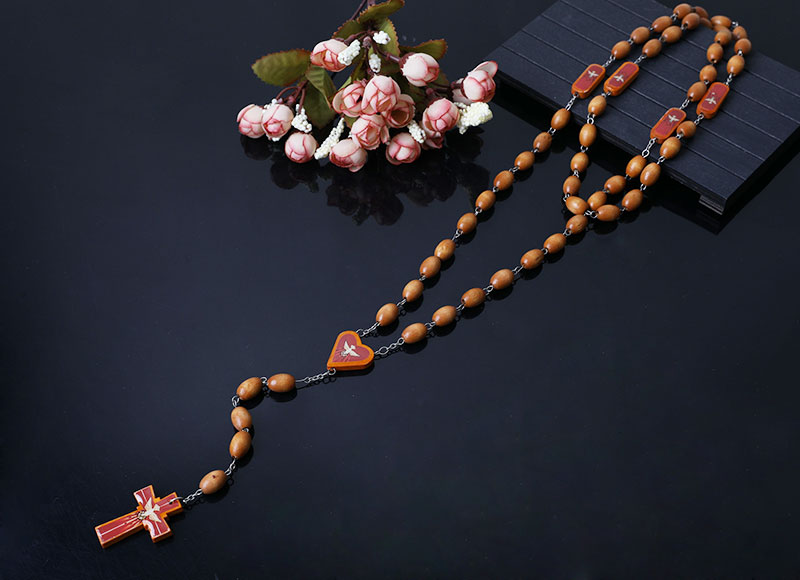 8-6 mm wood brown chain rosary