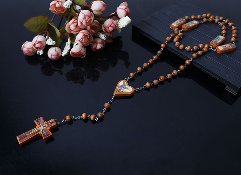 brown wood beads rosary necklace
