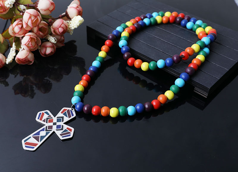 colorful wood beads necklace with cross
