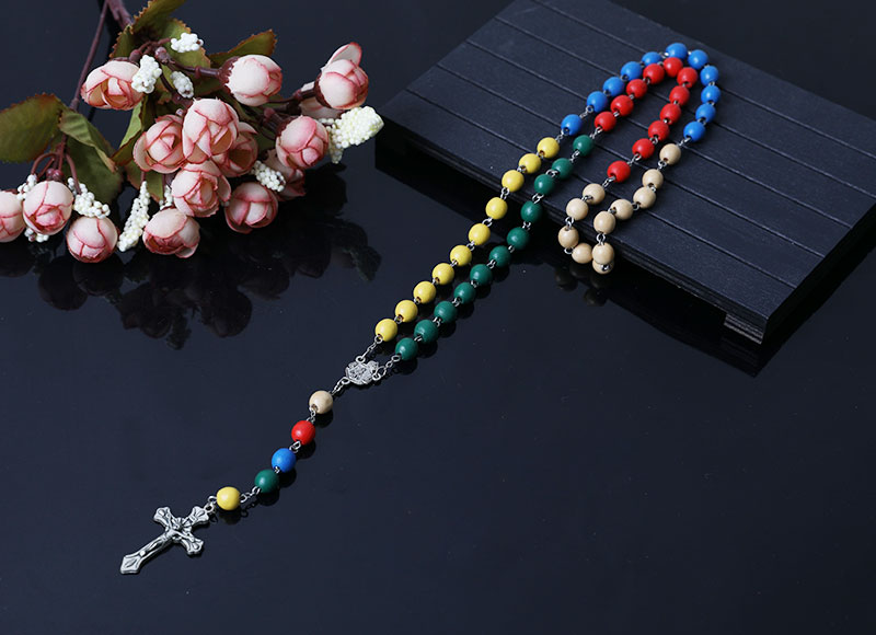colorful wood beads rosary