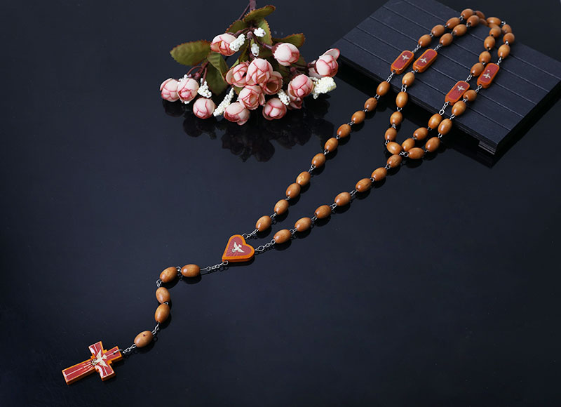 dark brown  wood beads rosary