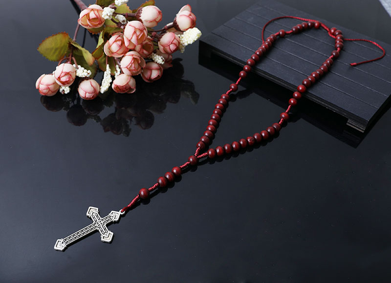 dark red wooden beads rosary necklace