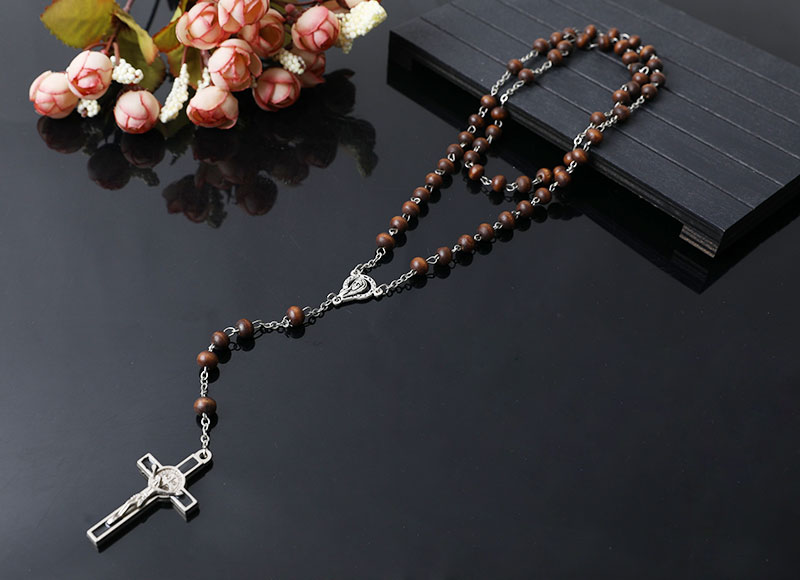 high quality brown wood beads rosary