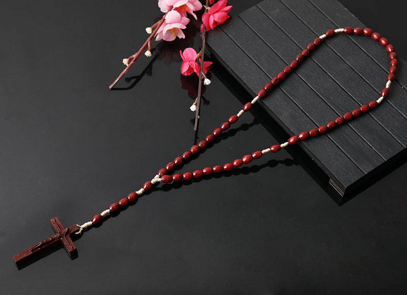 high quality dark brown wooden rosary