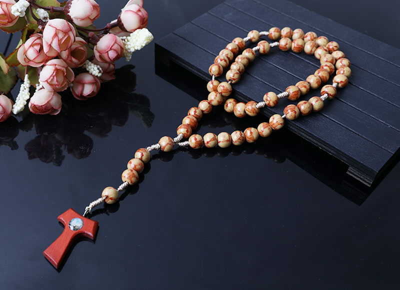 new design wood beads cord rosary