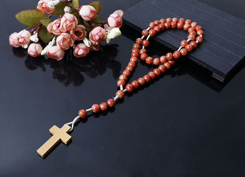 new style wood beads cord rosary