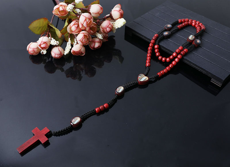 red wood beads rosary