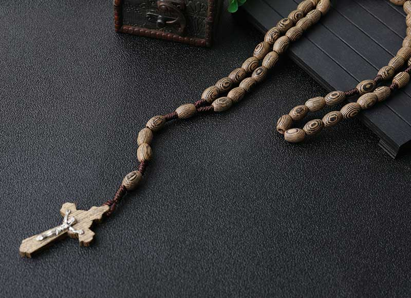 Simple Design 8x6mm Wood Knotted Rosary Pendant Necklace